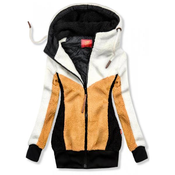 Jacke mit Kunstpelz weiß/gelb
